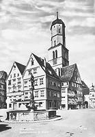 Hist. Ansicht Marktplatz Ostseite gegen NO (Marktplatz 3 li.) / Wohnhaus in 88400 Biberach, Biberach an der Riß (Bildindex Foto Marburg: LAD BW/Tübingen, Microfiche-Scan mi04935d14)