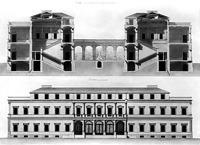 Ansicht und Querschnitt des Wilhelmspalais von Giovanni Salucci (1830er Jahre) / Wilhelmspalais in 70173 Stuttgart, Stuttgart-Mitte (Stadtmuseum Stuttgart)